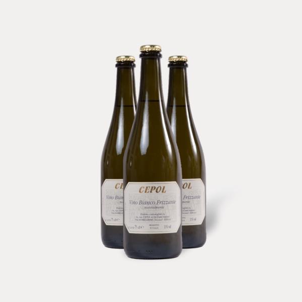 """Bianco frizzante """"col fondo"""" a rifermentazione in bottiglia (x3), Cepol"""