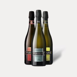 Combinazione mista di 3 bottiglie Franciacorta (1 Extra Brut, 1 Satèn, 1 Rosè) Massussi